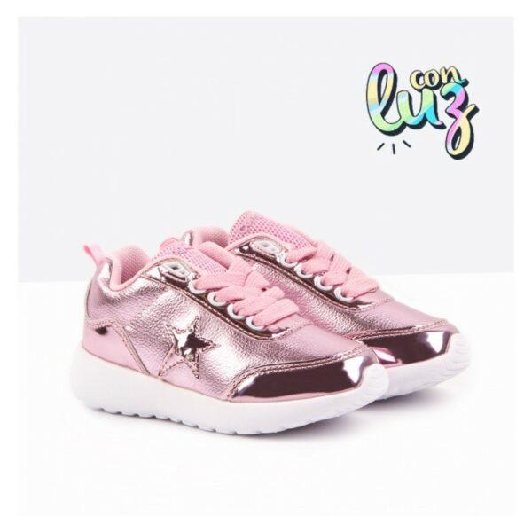 Deportivos de luces niña con estrellas rosa