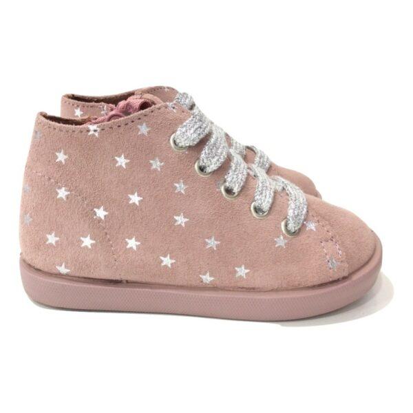 Botin serraje estrellas rosa