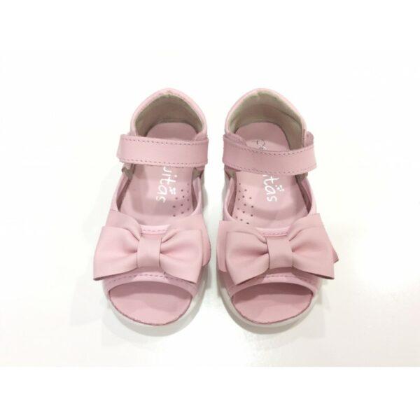 Sandalia velcro piel con lazo en color rosa