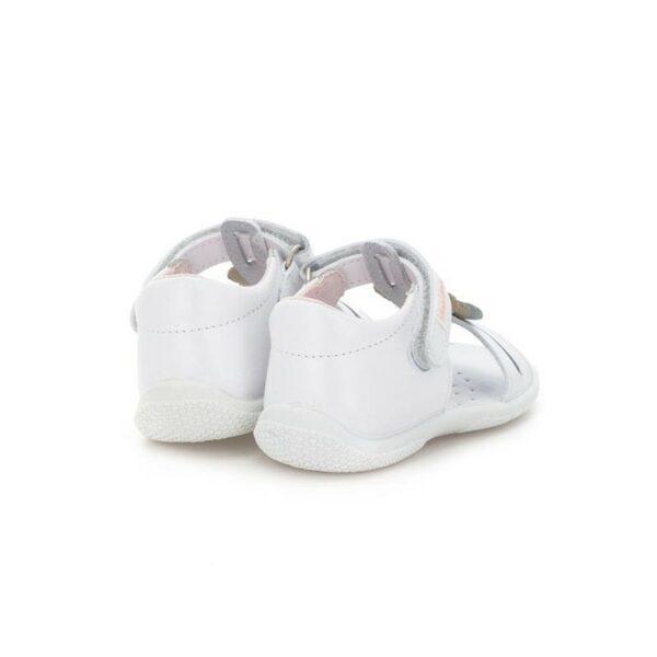 Sandalia de niña con forma de T y adorno corazones metalizados de piel lávale súper flexible