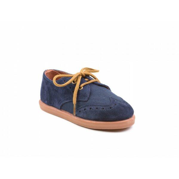 Zapato blucher de serraje y lino con cordones