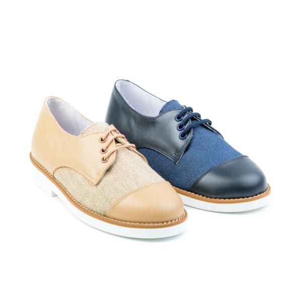 zapato comunión en lino combinado con napa y cierre de cordones