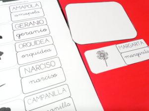 Tarjetas de lectoescritura florales