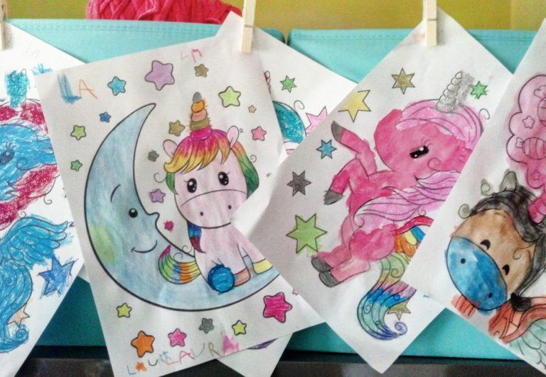 15 días de cuarentena...seguimos confinados en casa con niños dibujo de unicornios con purpurina todo irá bien