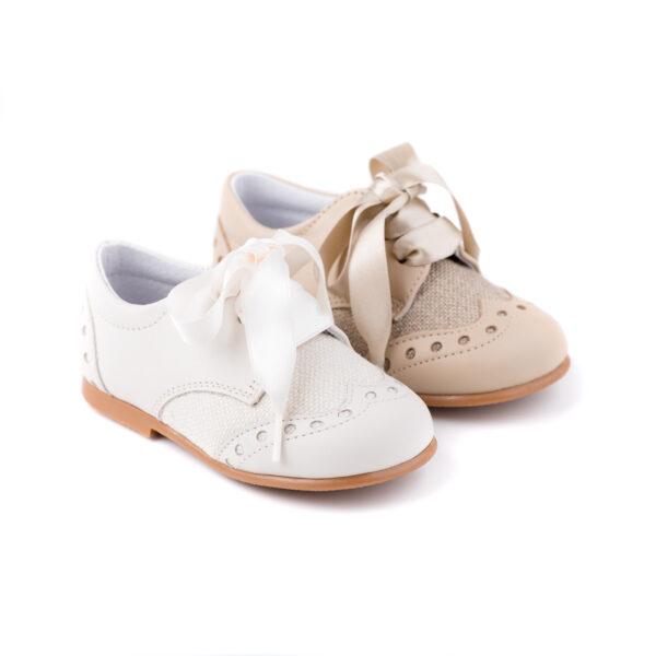 zapato inglesito de bebé combinado piel con lino