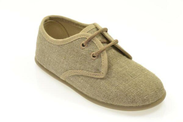 zapato de lino con cordones para niño suela de goma
