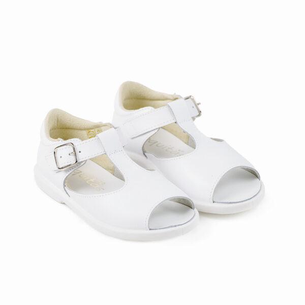 sandalia piel niño blanco