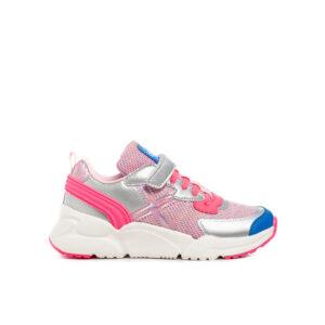 deportivo para niña en color rosa y plata de lamarca munich. COn suela blanca, cordones y velcro