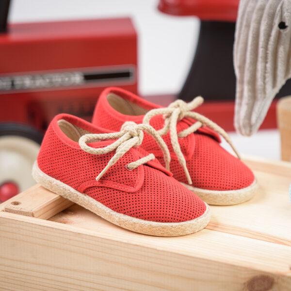 zapato blucher serraje picado rojo cordones