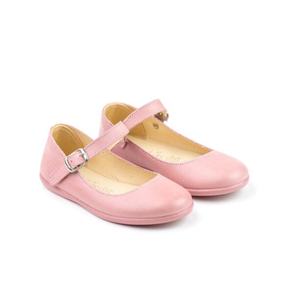 mercedita depiel suave con cierre de hebilla en color rosa para niña