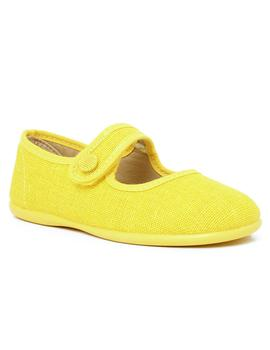 mercedita lino con adorno botón amarillo