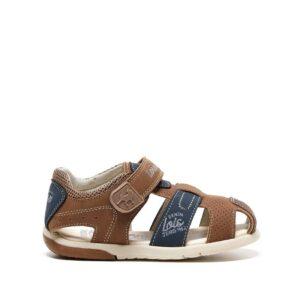 Sandalia de niño Lois en color marrón con cierre de velcro