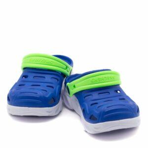 Zueco de playa azul con tira lima para niño de Skechers con LUCES