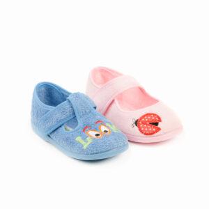 zapatilla de casa de rizo tipo toalla en rosa y azul para niño